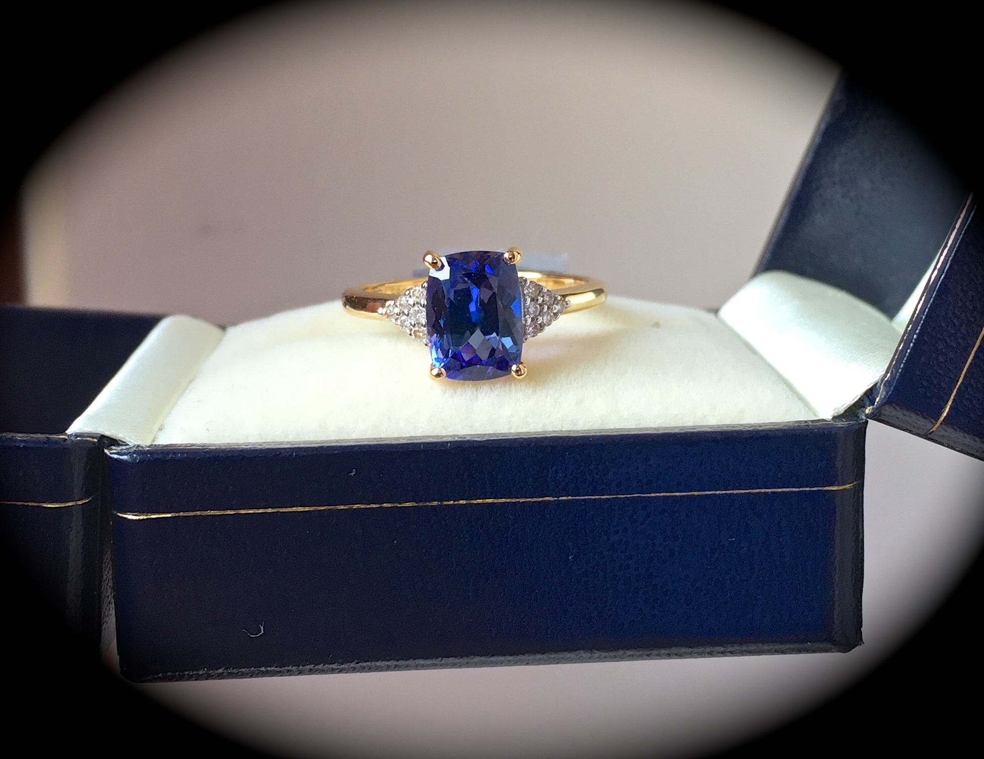 engagement gold white ring tanzanite investment grade double certified diamond halo gia