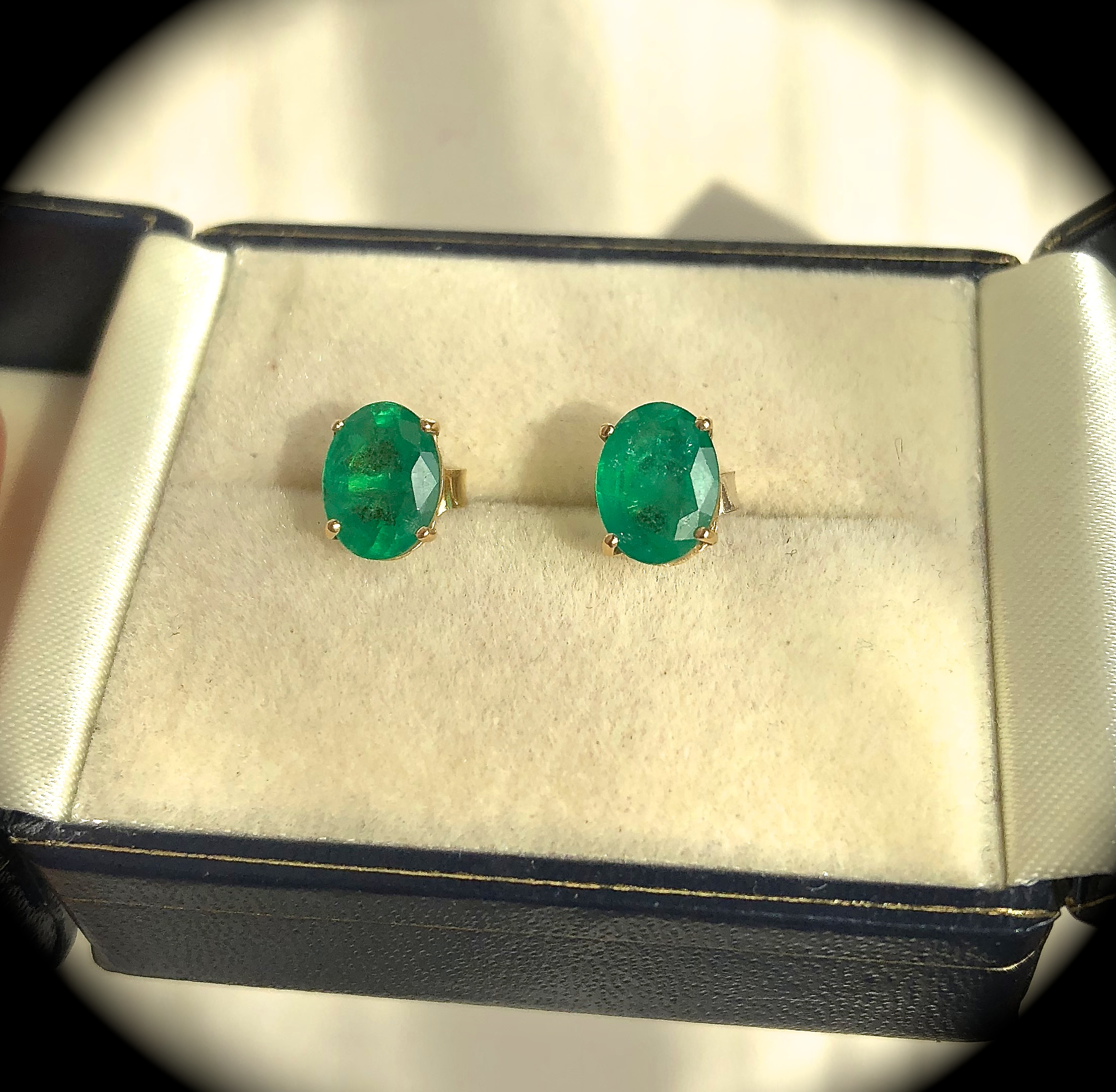 natural listing il studs gold bezel emerald earrings zoom fullxfull