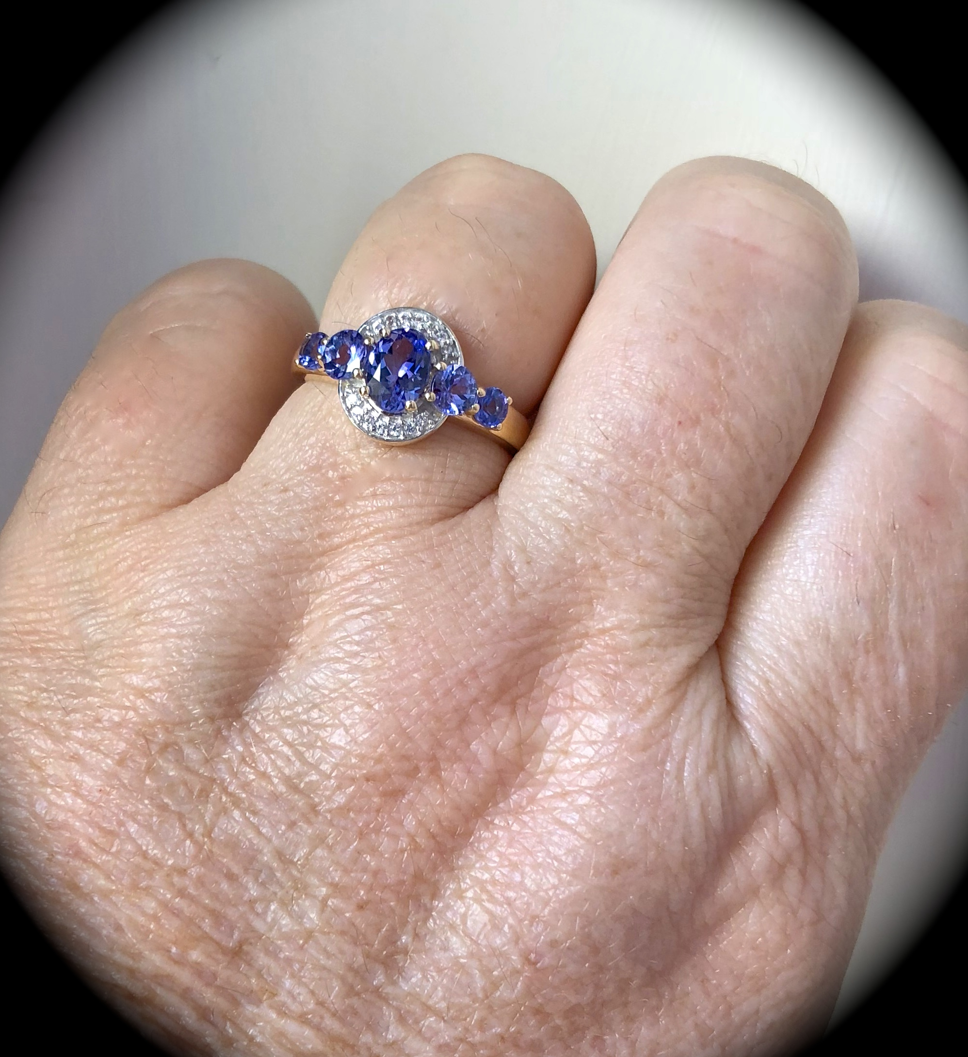1.70CT TANZANITE & W SAPPHIRE RING 9CT Y GOLD SIZE P 1/2 \'CERTIFIED ...